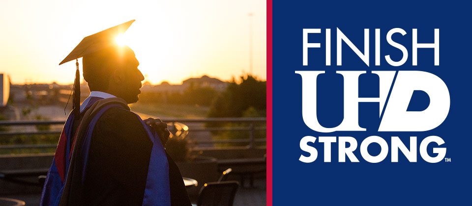 Finish UHD Strong graduate in sunset
