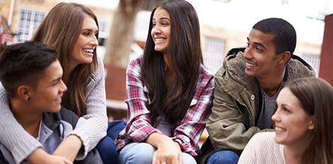 group of students laughing