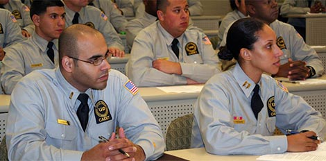 cadets listening to lecture in class