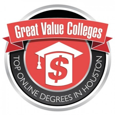 Badge for top online degrees in houston by great value colleges