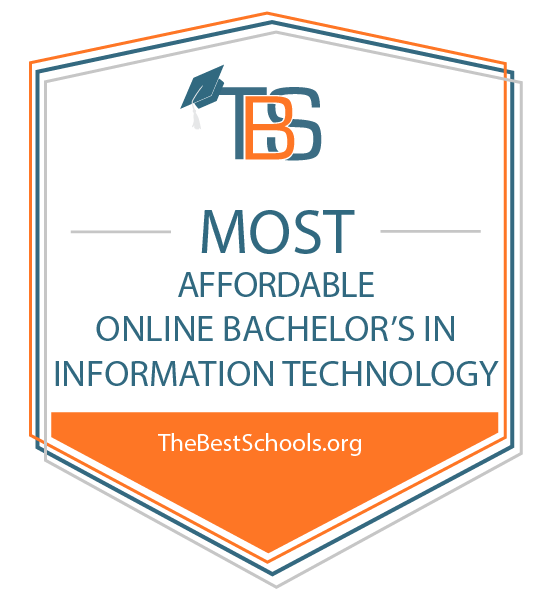 badge for most affordable online bchelor's in information technology