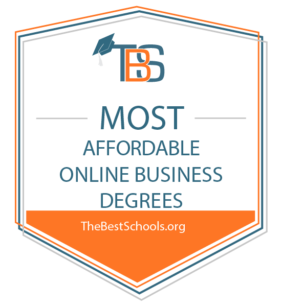 Badge for most affordable online business degrees