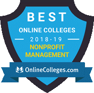 badge for best online colleges for non profit management by online colleges dot com