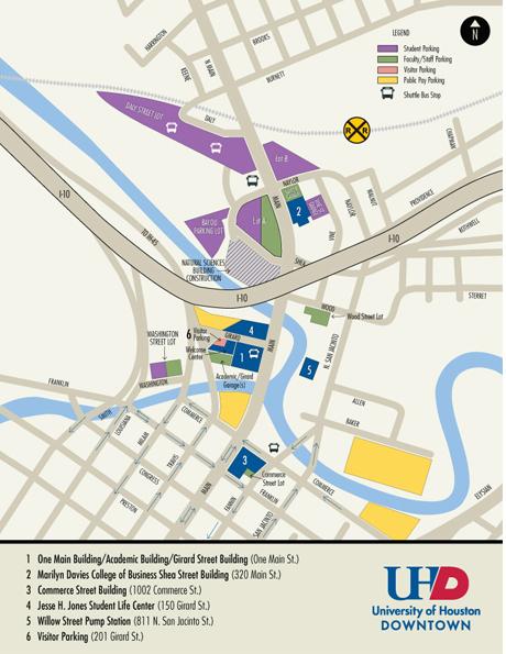 Map University of HoustonDowntown
