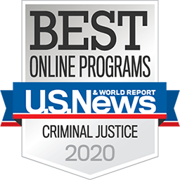 best online programs badge for criminal justice 2020