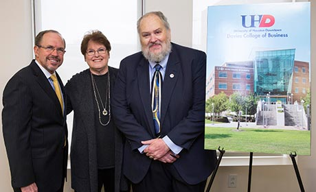 Marilyn Davies with dean Fields and interim president Olivas