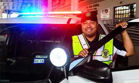 Police officer smiling