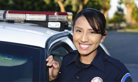 Plice officer smiling at