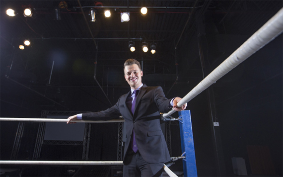 Photo of UHD student Brad Gilmore in the wrestling ring