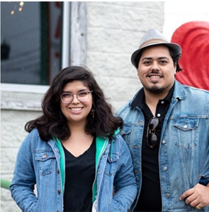 Photo of UHD Art students Brenda Chapa (left) and Bobb Ramos (right)