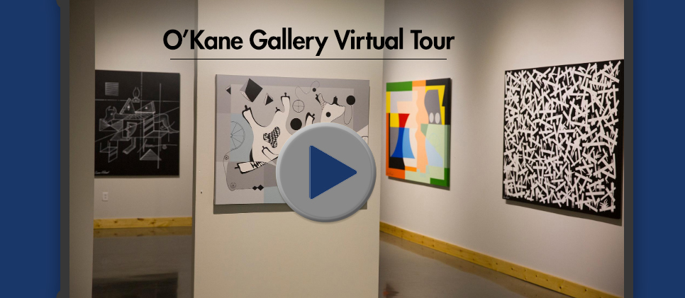Photograph inside O'Kane Gallery with play button for video