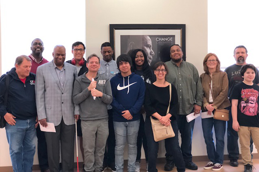 UHD students group photo at the Gregory School's African American Library