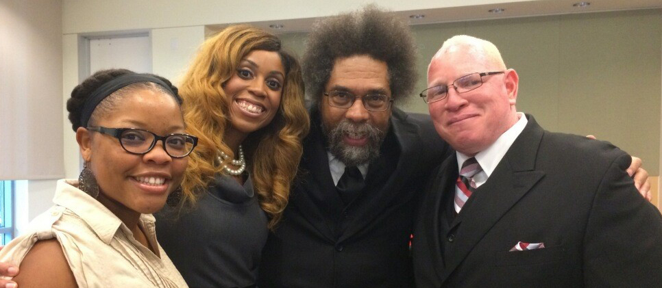 Dr. Cornel West (center) with CCRS faculty Dr. Harris (left) Dr. Murray and Dr. Robertson (right)