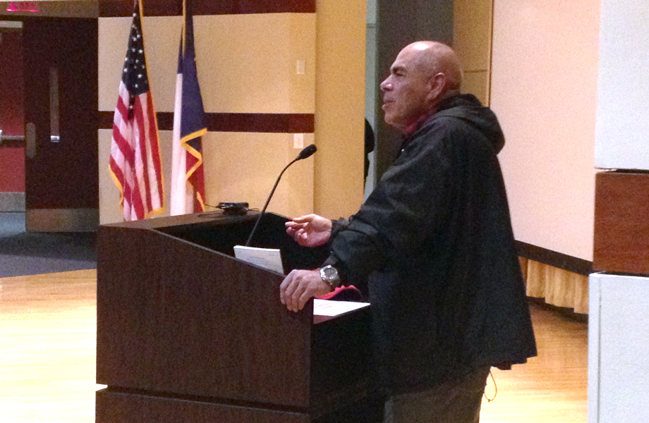 PHotograph of Jimmy Santiago Baca giving a talk in the UHD auditorium