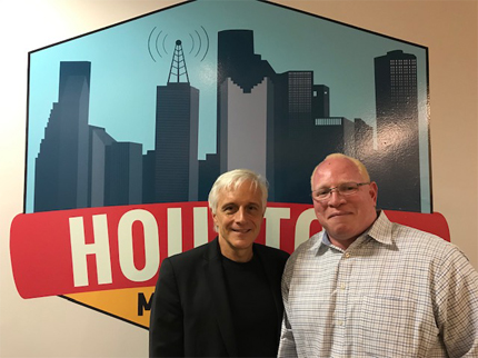 Photograph of Dr. James Sidbury (left) and Dr. Vida Robertson at Houston Matters Radio studio