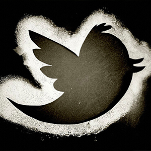 black silhouette of Twitter bird logo