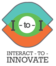 Interact to Innovate I to I logo with the shape of two eyes and the letters I to I over the graphic