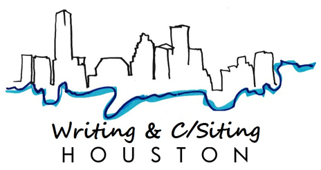 Writing and C/Siting Houston event logo, city of houston building skyline with water