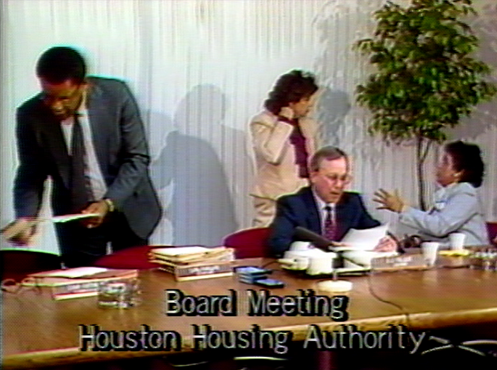 still photo from Alligator Horses about the 4th Ward, people in a board room meeting of the Houston Housing Authority