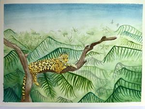 Javier Rivera, On Watch, Watercolor I