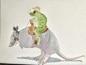 Javier Rivera, Texas Toad, Watercolor 1