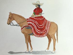Javier Rivera, Escaramuza Charra, Watercolor 1