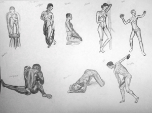 hand drawn figure models in atheletic poses