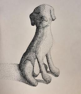 hand drawn stipple effect dog