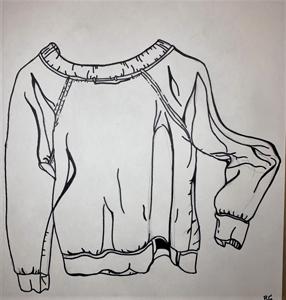 hand drawn sweatshirt with wide neck