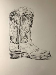 hand drawn single cowboy boot