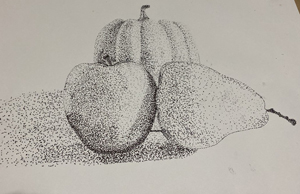still life of fruit stiple effect