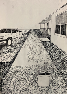 hand drawn outdoor scene potted plant, walkway, truck and side of house