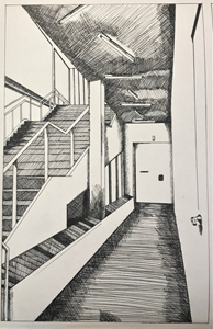 hand drawn exterior space with hallway and stairs of UH Blaffer Gallery