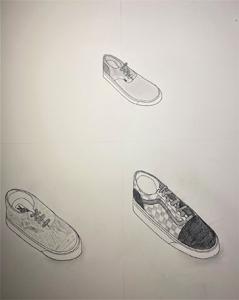 three handdrawn tennis shoes