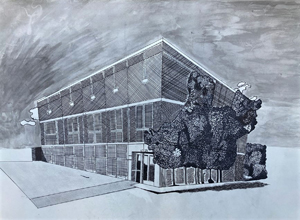 hand drawn exterior of a two story office building