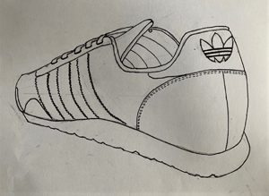 hand drawn Addias shoe from rear angle