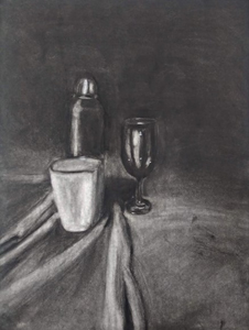 hand drawn still life of cup, shaker and wine glass