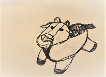 hand-drawn cartoonish cow