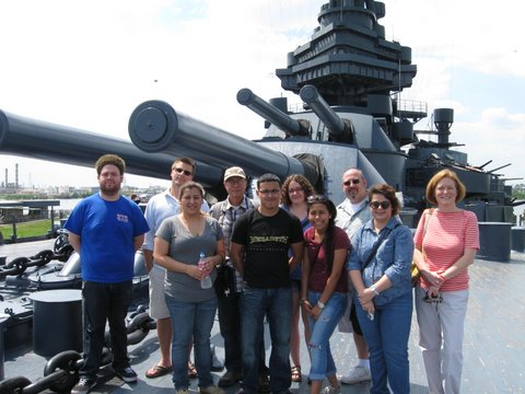 Students standing on deck of the battleship Texas