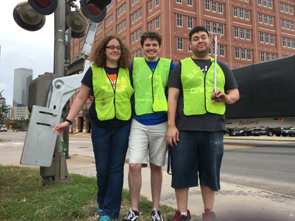 UHD Phi Alpha Theata students, Courtney, David and Jason take part in Ed's Bayou Clean Up