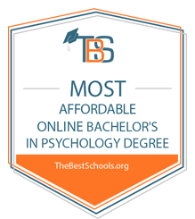 most affordable online psych degree badge