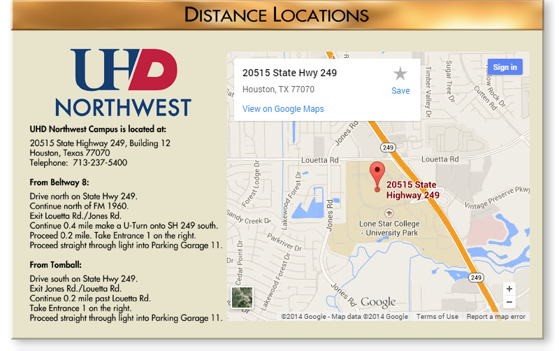 UHD Northwest campus map