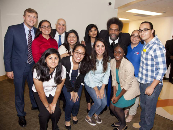 Honors Students with UHD President at Dr. Cornel West visit