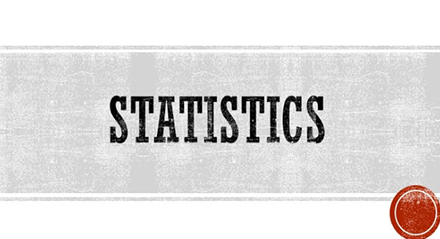 Statistics (banner with a gray rectangle and a red circle)