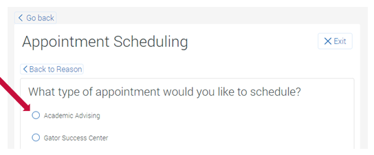 Select the type of appointment