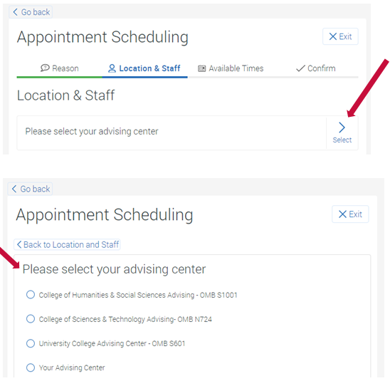 Location and Staff for Appointment Scheduling