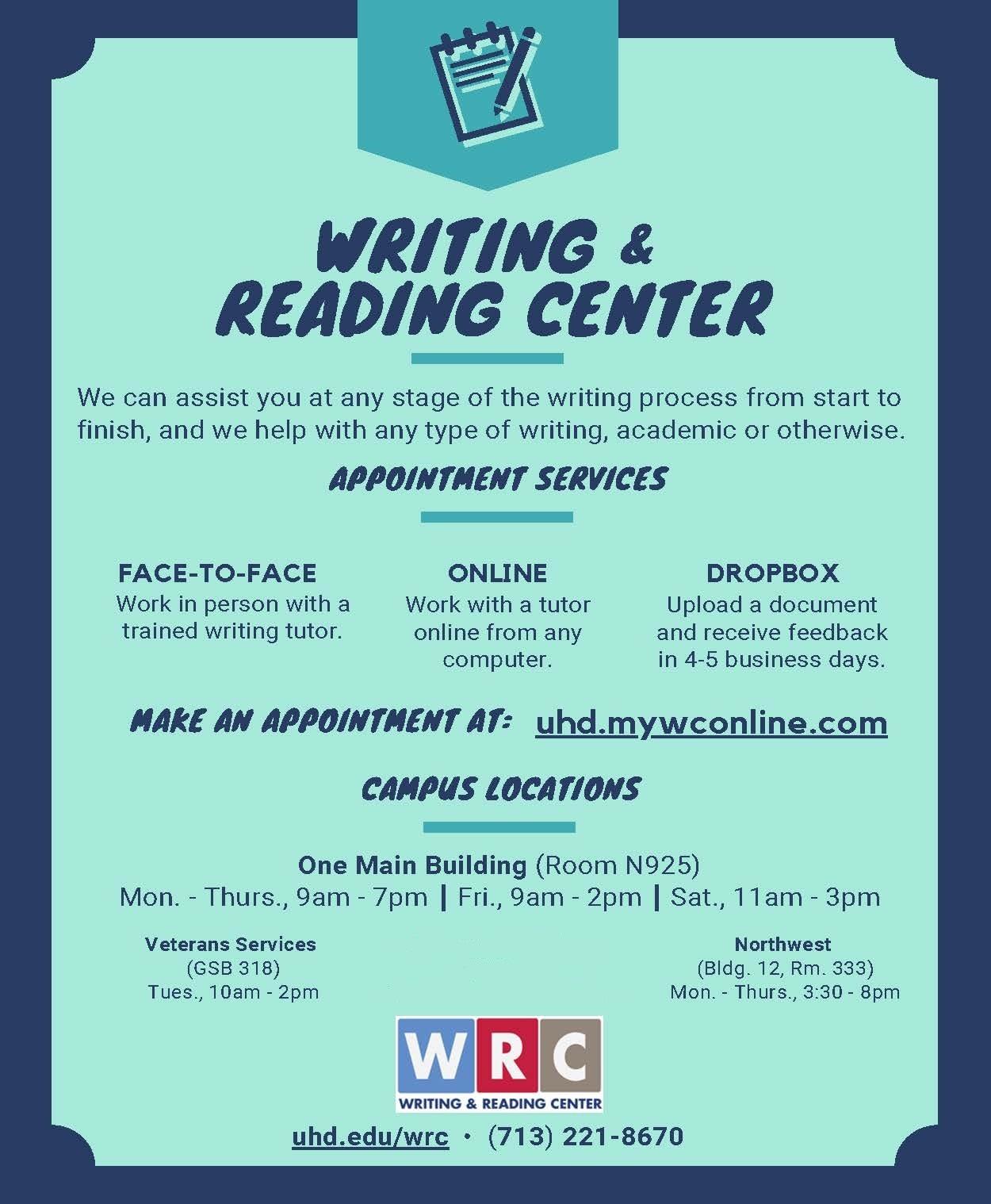 The Writing  Reading Center  University Of Houstondowntown Finalwrcspringposterxinjpg
