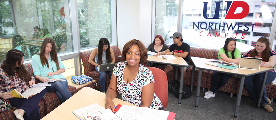 UHD students studying at the Northwest campus