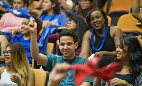 UHD Students Cheering in the Auditorium