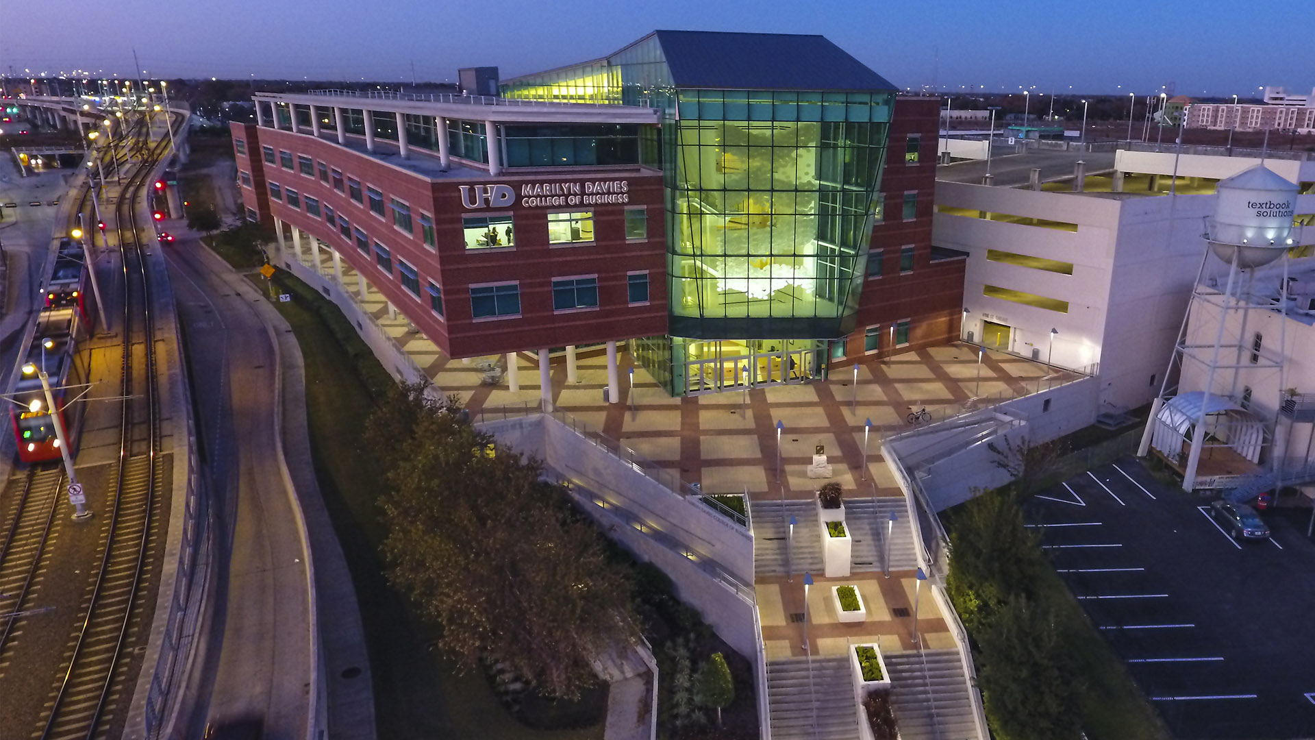 Night aerial view of the Marilyn Davies College of Business building